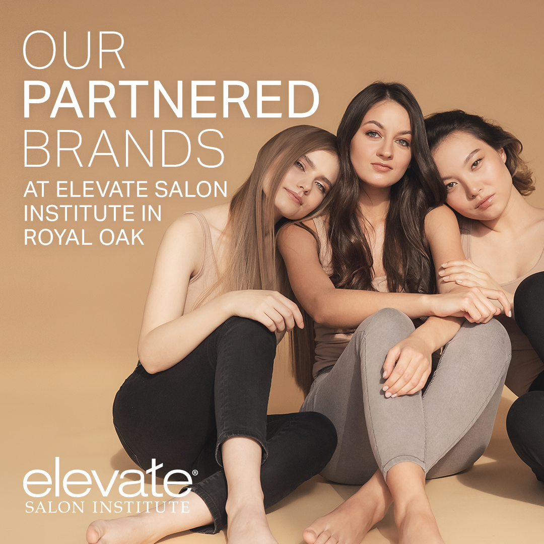 """graphic featuring three sitting women and text that reads """"our partnered brands at elevate salon institute in royal oak"""""""